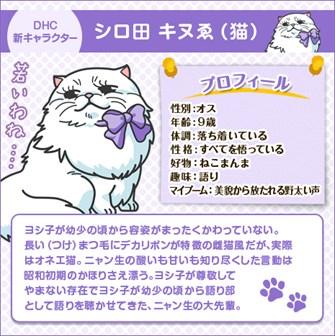 DHC 新キャラクター キャラクター シロ田キヌゑ(猫)